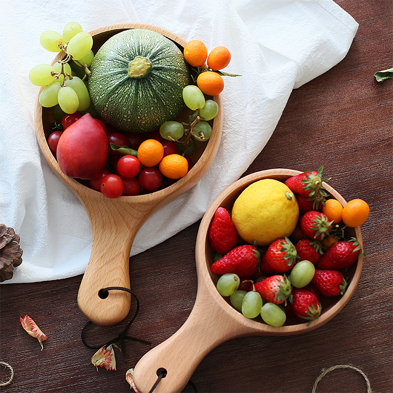 Japanese Style Long Handled Wooden Salad Bowl Wood Large Fruit Pickles Serving Bowl Plate Food Container Kitchen Wooden Utensils (5)