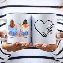 Tasses à café en céramique personnalisées Best Friends 2/3, tasses mignonnes, cadeau pour filles, nouveau, créatif, 11OZ/15OZ, R2066
