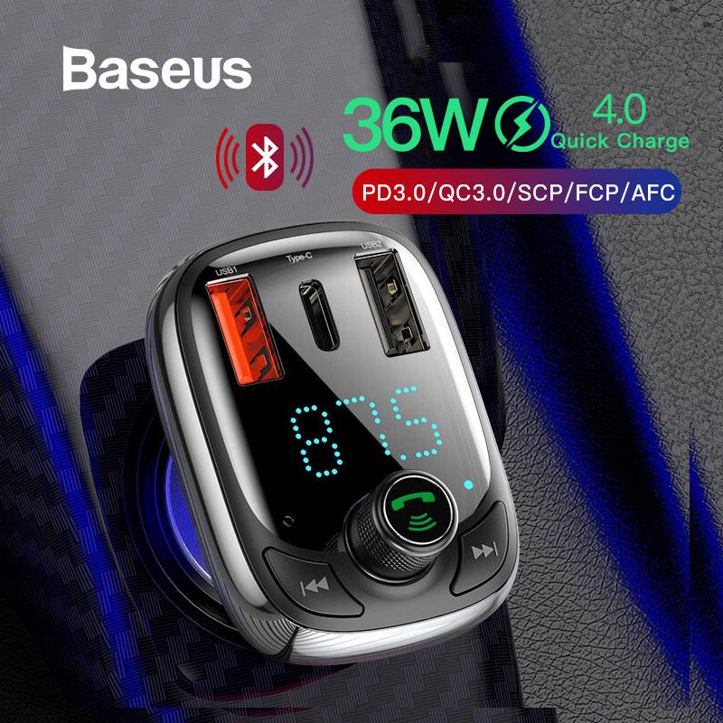 Ładowarka samochodowa Transmiter FM Baseus Quick Charge 4.0 za $14.49 / ~57zł