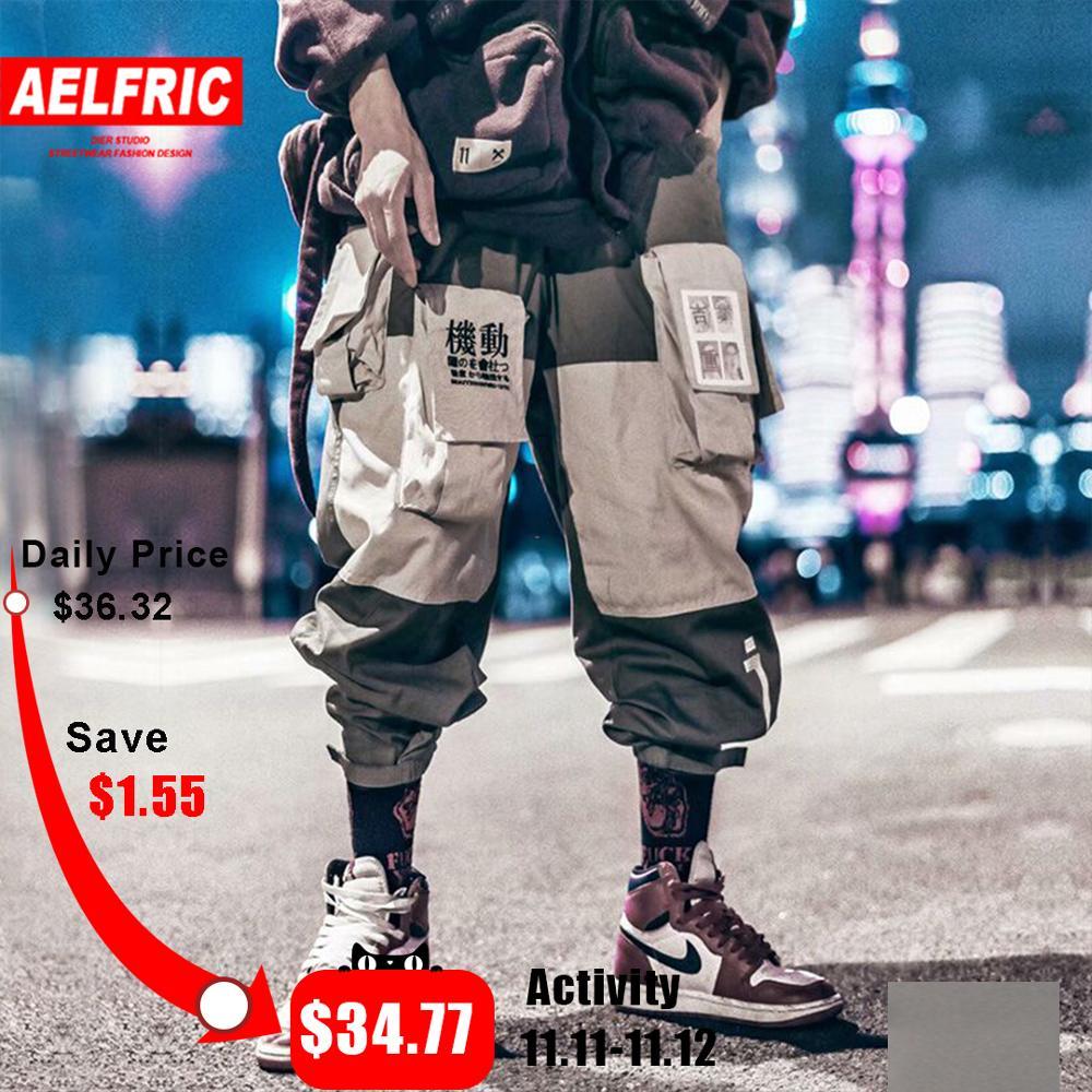 AELFRIC Patchwork Pockets Cargo Pants Mens 2019 Harajuku Hip Hop Sweatpant Fashion Casual Male Joggers Track Trousers Streetwear