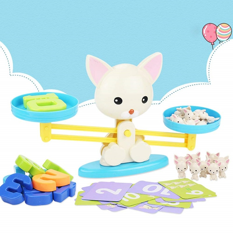 Montessori Math Balancing Scale Educational Toy For Baby Number Board Game Monkey Pig Cat Animal Kid Learning Math Toys|Math Toys|   - title=