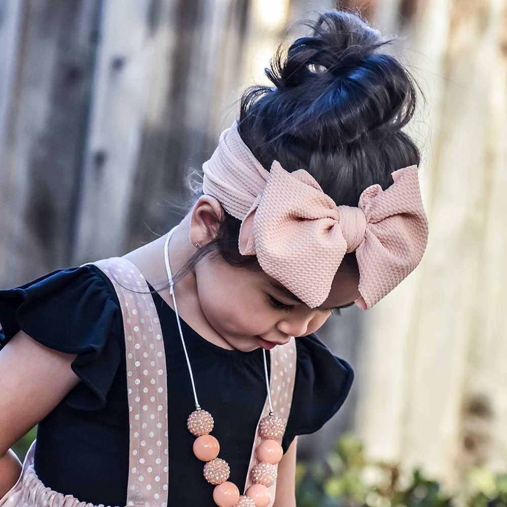 2019 sıcak satış büyük yay düğüm geniş bantlar kız çocuklar sevimli sıkı streç saç bantları DIY çocuk saç aksesuarları şapkalar