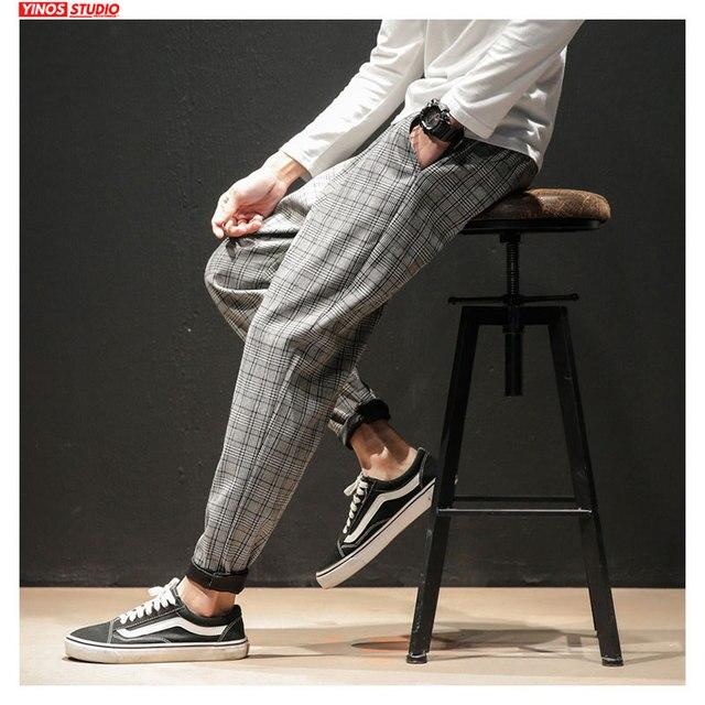 Dropshipping Japanese Streerwear Men Plaid Pants 2020 Autumn Fashion Slim Man Casual Trousers Korean Male Harem Pants 3