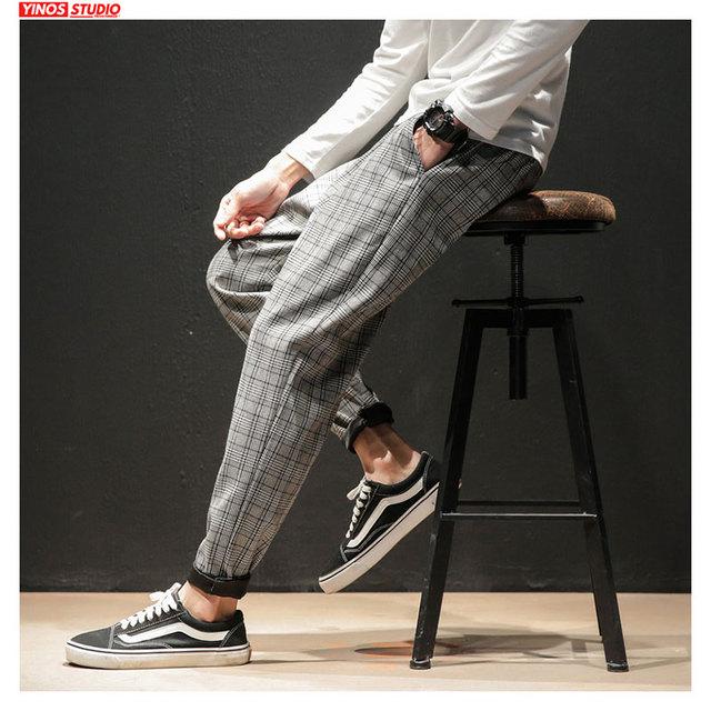 Dropshipping Japanese Streerwear Men Plaid Pants 2020 Autumn Fashion Slim Man Casual Trousers Korean Male Harem Pants 13
