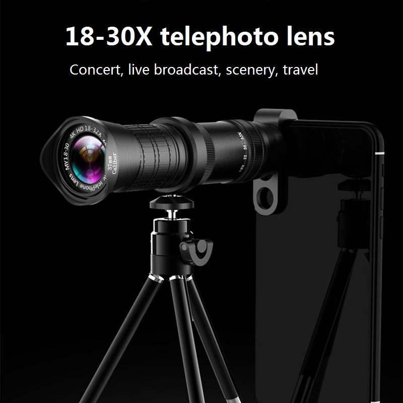 18-30X Zoom Telephoto Lens HD Monocular Telescope Phone Camera Lens for iPhone 11 Xs Max XR X 8 7 Plus Android Smart Phone image