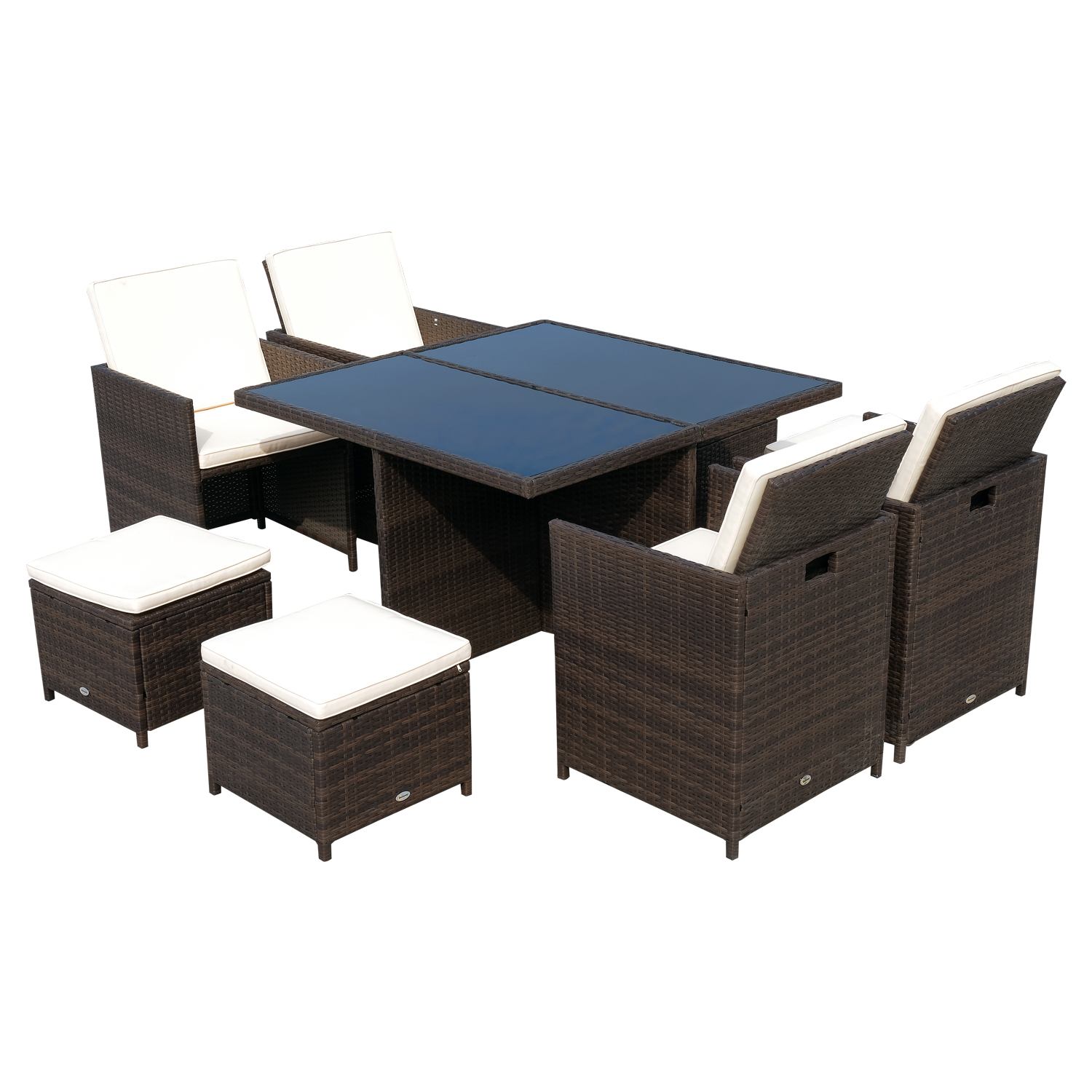 Outsunny Set Furniture Rattan Dining Table, 4 Chairs And 4 Foot Rest 9 PCs With Cushions Outdoor Garden PE Rattan Brown