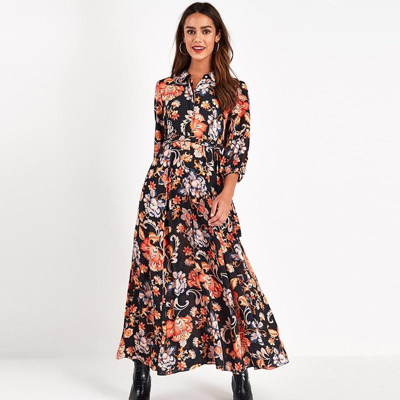 Vintage Floral Print Maxi Dress Women Boho Three Quarter Sleeve Long Sashes Dress Turn Down Collar Casual Shirt Dresses Robe 2