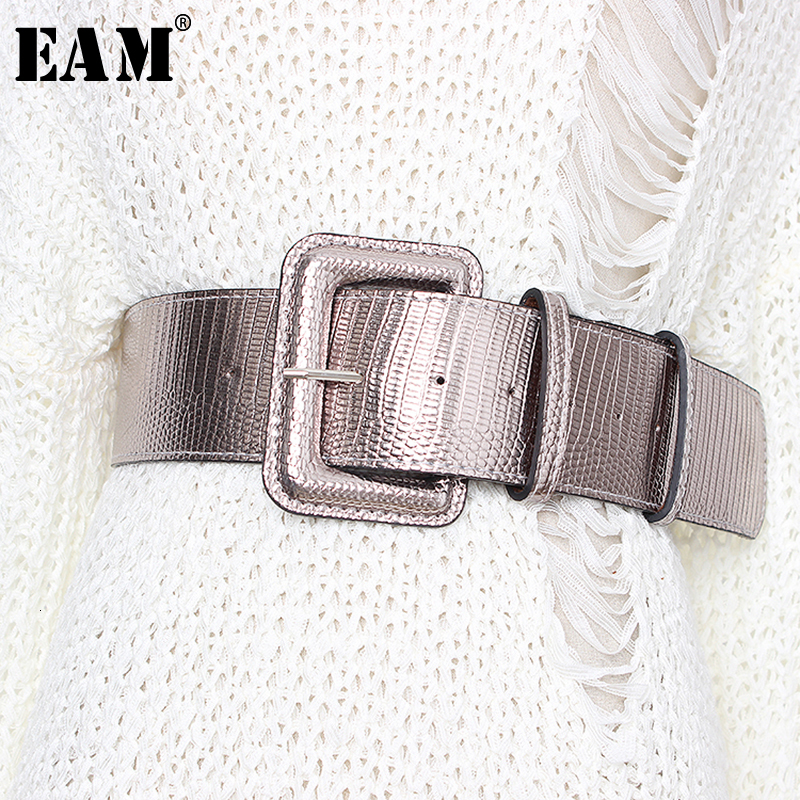 [EAM]  Pu Leather Multicolor Big Buckle Split Joint Long Belt Personality Women New Fashion All-match Spring Autumn 2020 1D176