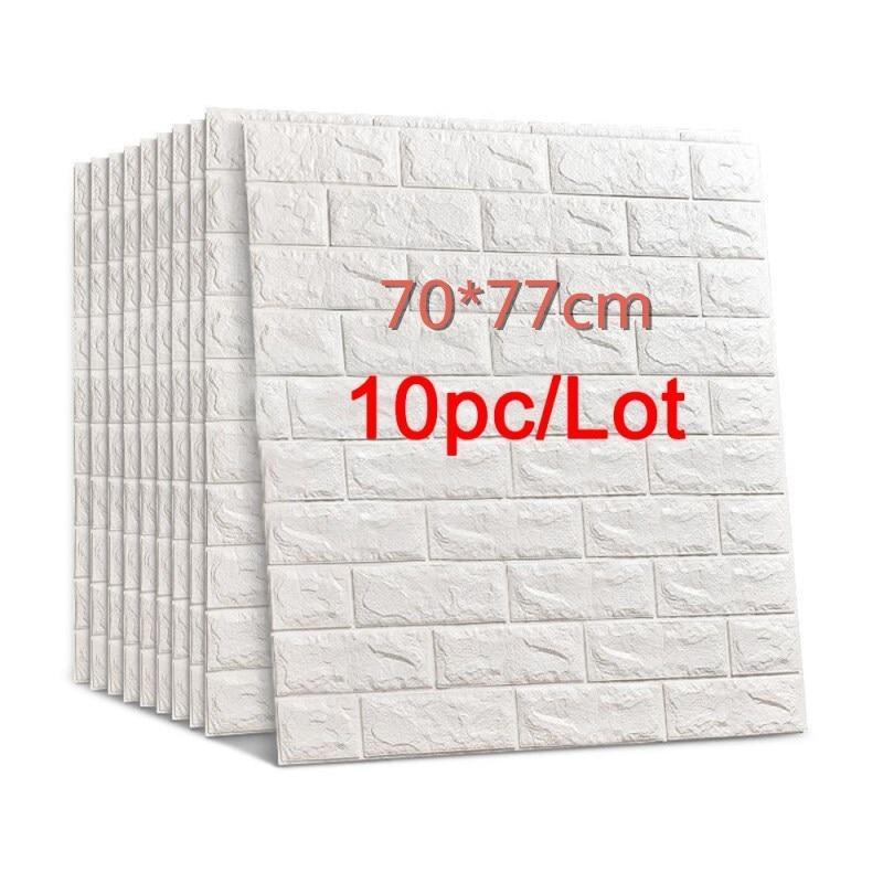 Adesivos de parede de tijolo 3d diy, 70*77, decoração autoadesiva, parede impermeável de espuma, papel de parede de cobertura para fundo de tv, crianças sala de estar