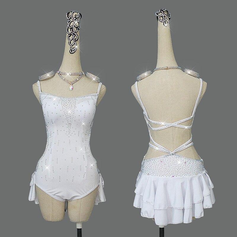 Nouvelles robes de danse latine pour femmes lait soie dentelle Sexy Salsa frange jupe dos nu robe de soirée salle de bal compétition vêtements
