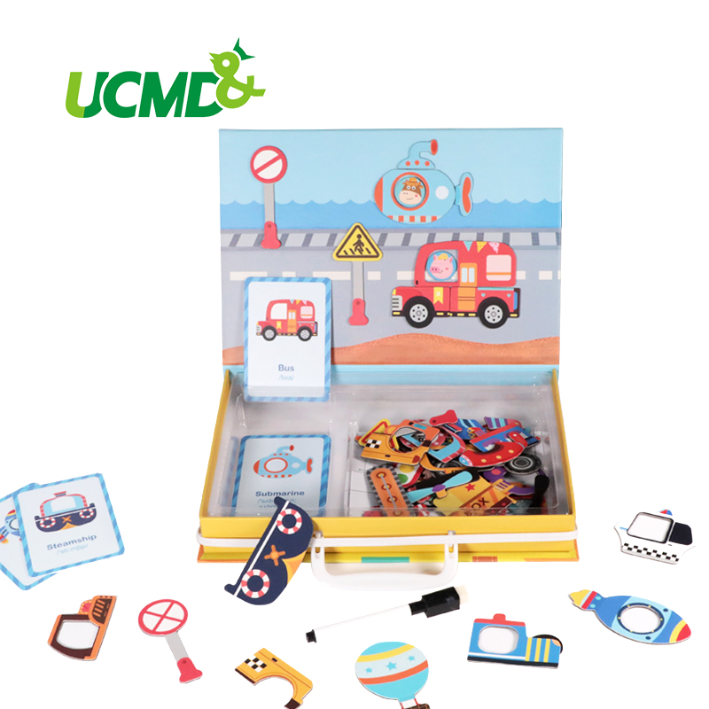 Magnetic Traffic Light Signs Fridge Stickers Learning Traffic Rules Puzzle Jigsaw Games Educational Writing Board Toys Kids Gift