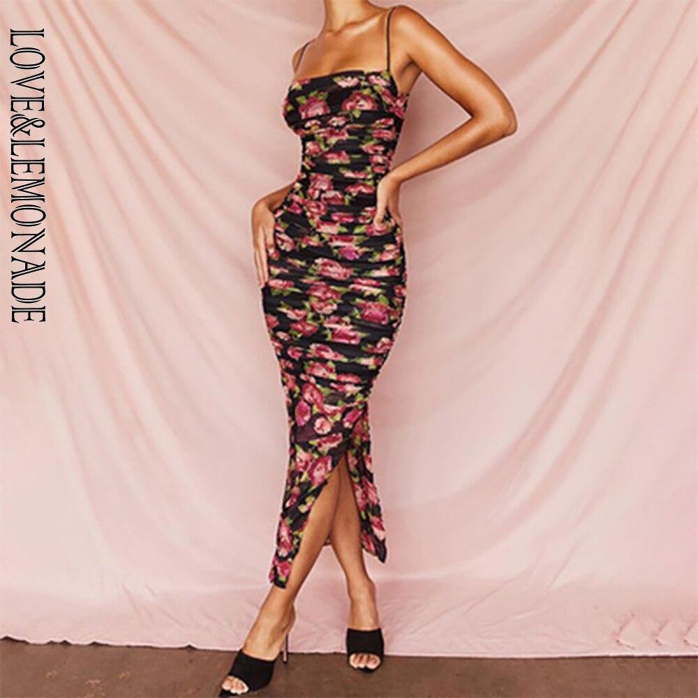 LOVE & LEMONADE Sexy Tube Top Strap Flower Print Mesh Bldycon Split Party Dress LM90221