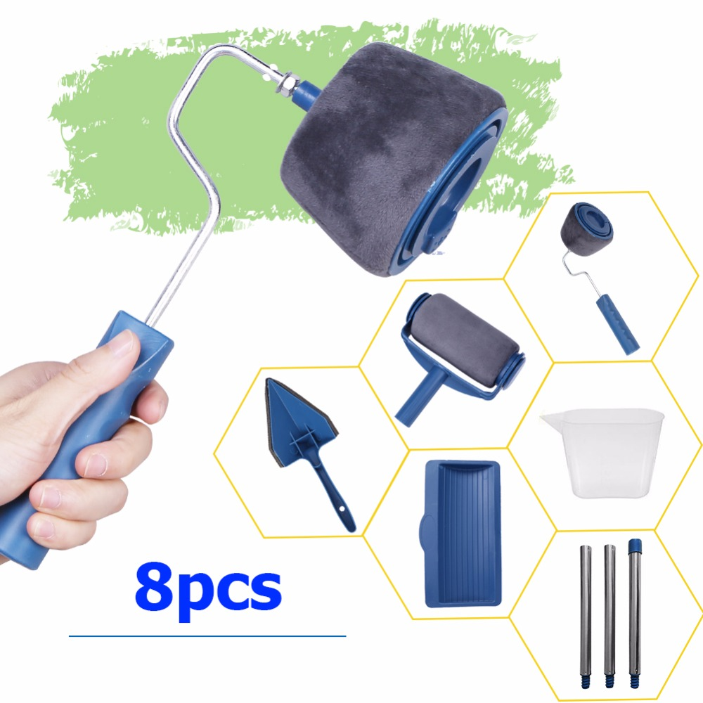 8pc/set Multifunctional Wall Decorative Paint Roller Corner Brush Handle Tool DIY Household Easy To Operate Painting Brushes Kit