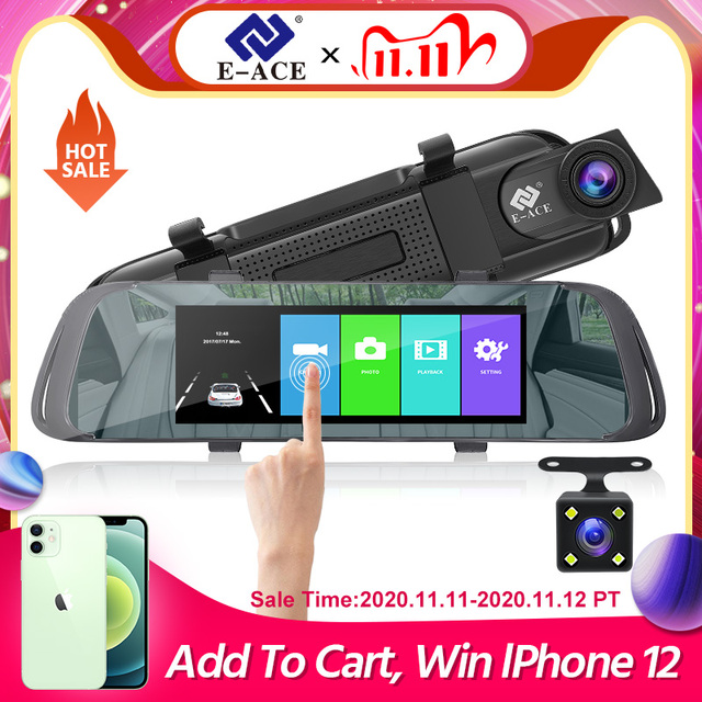 E ACE Car DVR 7.0 Inch Touch Video Recorder Mirror Camera FHD 1080P Dual Lens with Rear View Camera Auto Registrator Dash Cam