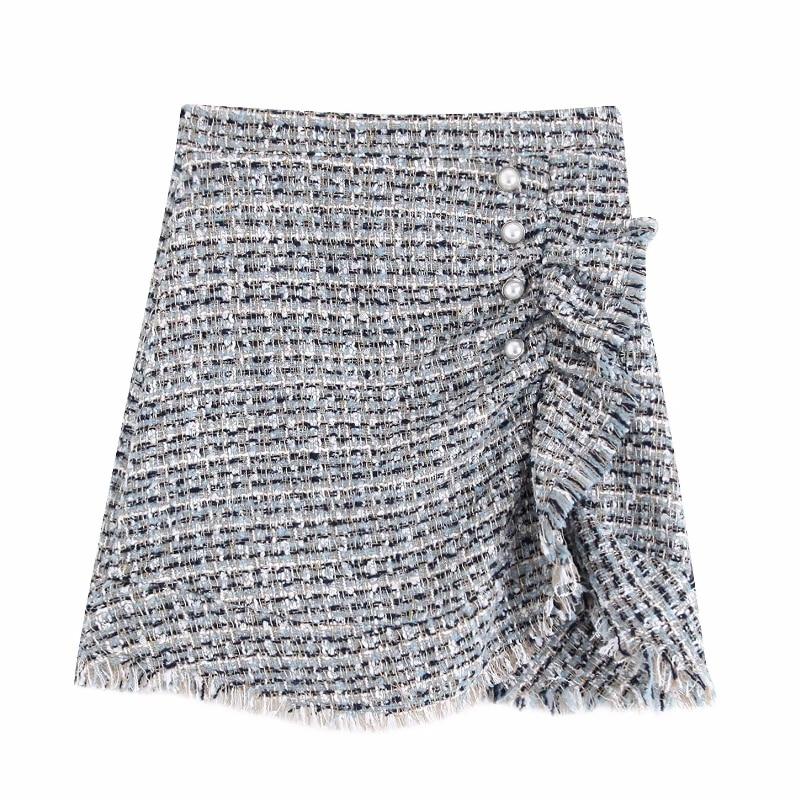 New Women Vintage Pleat Ruffles Tweed Woolen Mini Skirt Faldas Mujer Ladies Buttons Decoration Vestidos Tassel Edge Casual Slim Skirts QUN476