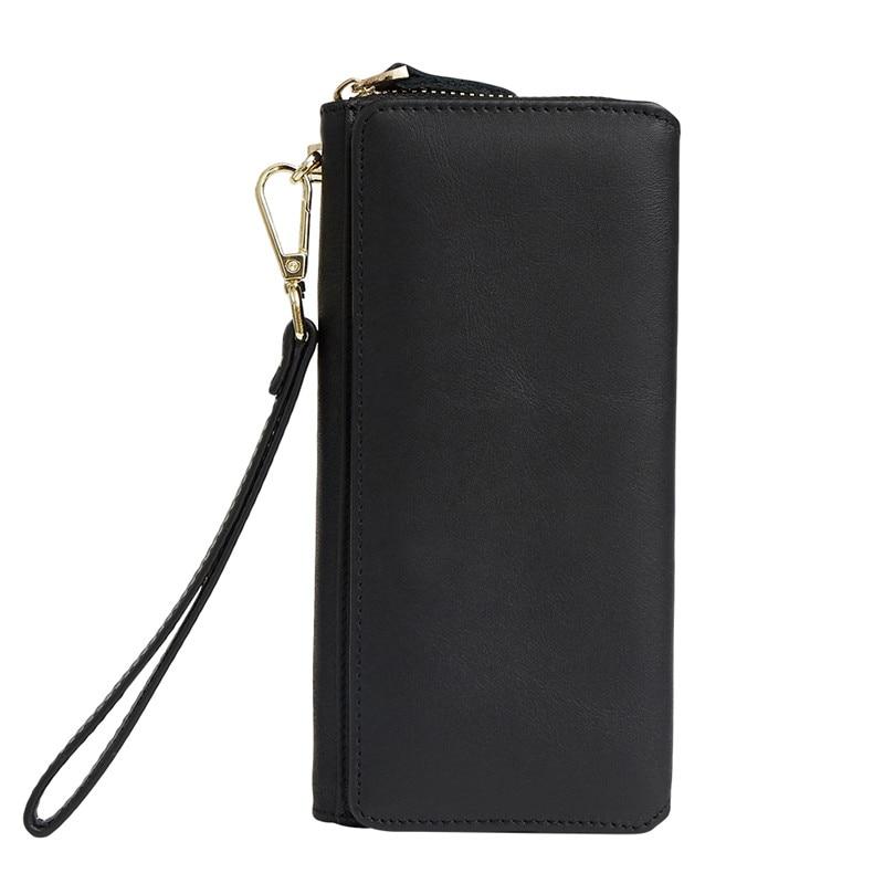 Женские кошельки из натуральной кожи, кошелек на молнии для монет, женские сумочки, кошелек для денег, карт, ID, сумки, кошельки с карманами - Цвет: 9376 black