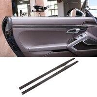 2pcs Real Carbon Fiber For Porsche 911 718 Cayman Boxster Car Interior Door Decoration Strips Trim 2013 2019 Car Accessories