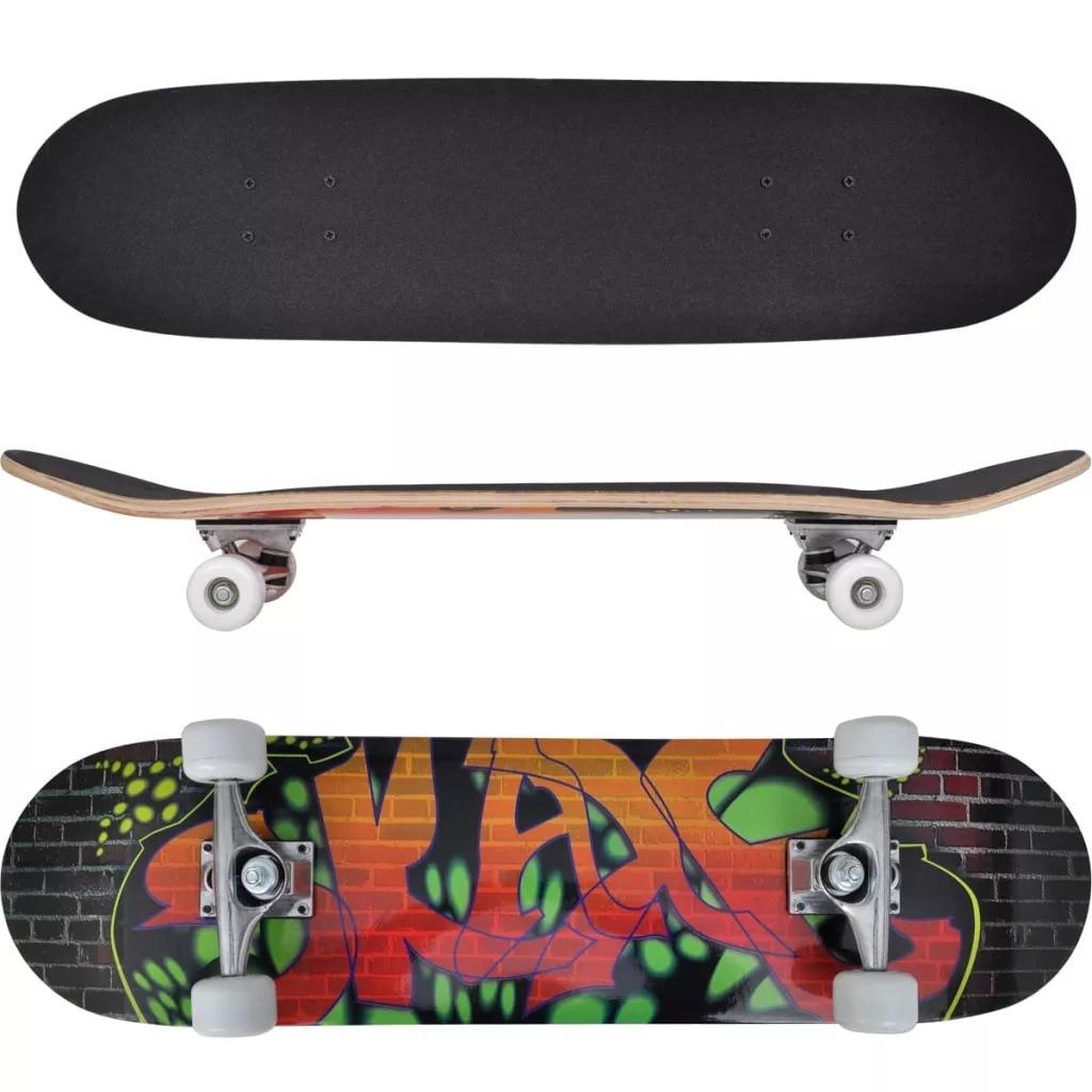 VidaXL Oval Shape Skateboard 9 Ply Maple Graffiti Deck Longboard Adult Four-Wheel Double Snubby Maple Skateboard Long Board