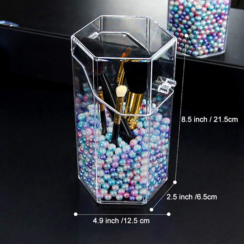 Makeup Brush Holder with Free Pearls Dustproof Cosmetic Brushes Organizer Storage  Hexagon Shaped/Protect Brushes/Large Size|Makeup Organizers| |  - title=