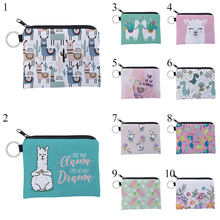 2019 New Alpaca Printing Purse Card Key Pouch Small Zipper Coin Purse Mini Bag Card Holder Lovely Children's Wallet Change Purse(China)