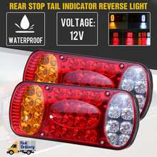 2 pces 12v 32 led luz da cauda do caminhão do carro taillight traseiro parar luzes de freio indicador de sinal para caravanas caminhão reboque van ute