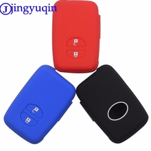 jingyuqin Remote Silicone Key Fob Case Cover Shell Holder For Toyota RAV4 Land Cruiser Camry Highlander Prado Prius 2 Buttons