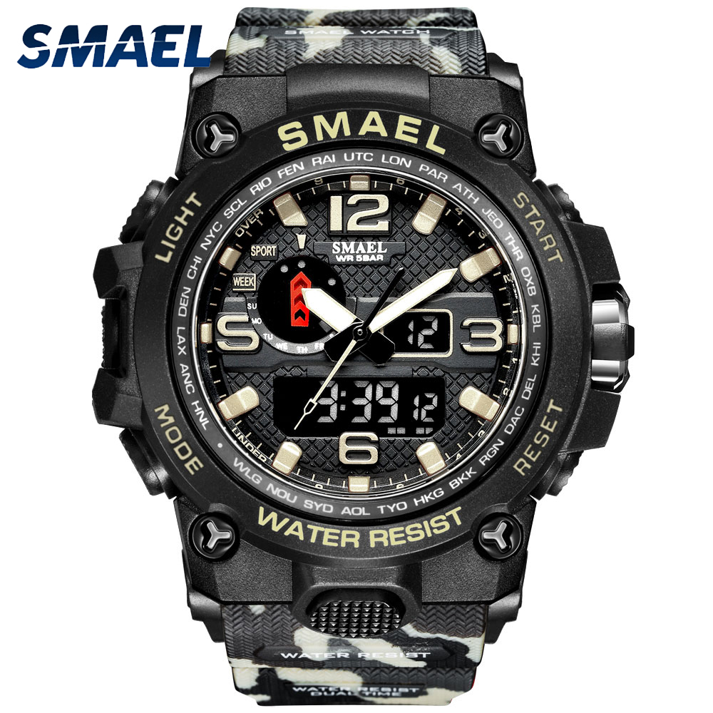 SMAEL Watches For Men 50M Waterproof Clock Alarm reloj hombre 1545D Dual Display Wristwatch Quartz Military Watch Sport New 2020|Quartz Watches|   - AliExpress
