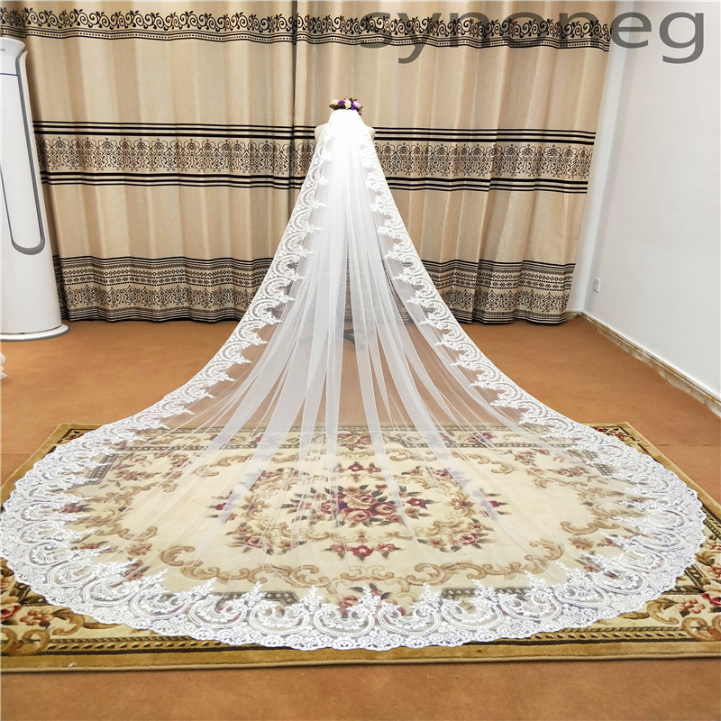 Real Photo 3m One Layer Wedding Veil With Comb White Lace Edge Bridal Veils Ivory Cathedral Wedding Veil 5m