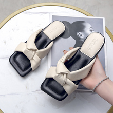 WEIBATE Designer Slippers Women Shoes Square Toe Womens Slippers Quality PU Leather Ladies Summer Slides Flats Open Toe Slippers apricot contrast point toe pu heeled slippers
