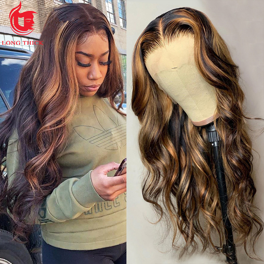 Highlight Wig  Ombre Lace Front Wig  Wigs  30 Inch Honey Blonde Body Wave Lace Front Wig 4