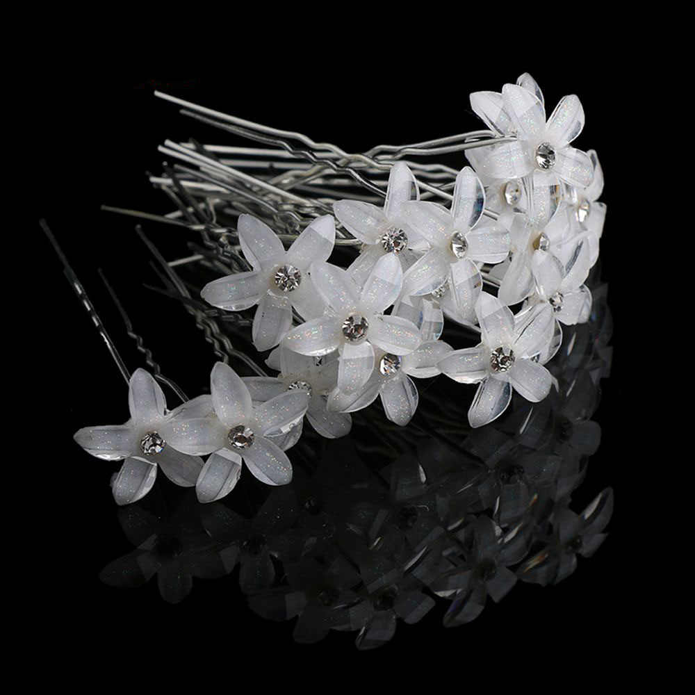 20Pcs/Set Women Crystal Rhinestone Flower Hair Pins Clips Wedding Bridal Barrettes Hairpins Hair Styling Tools Accessories