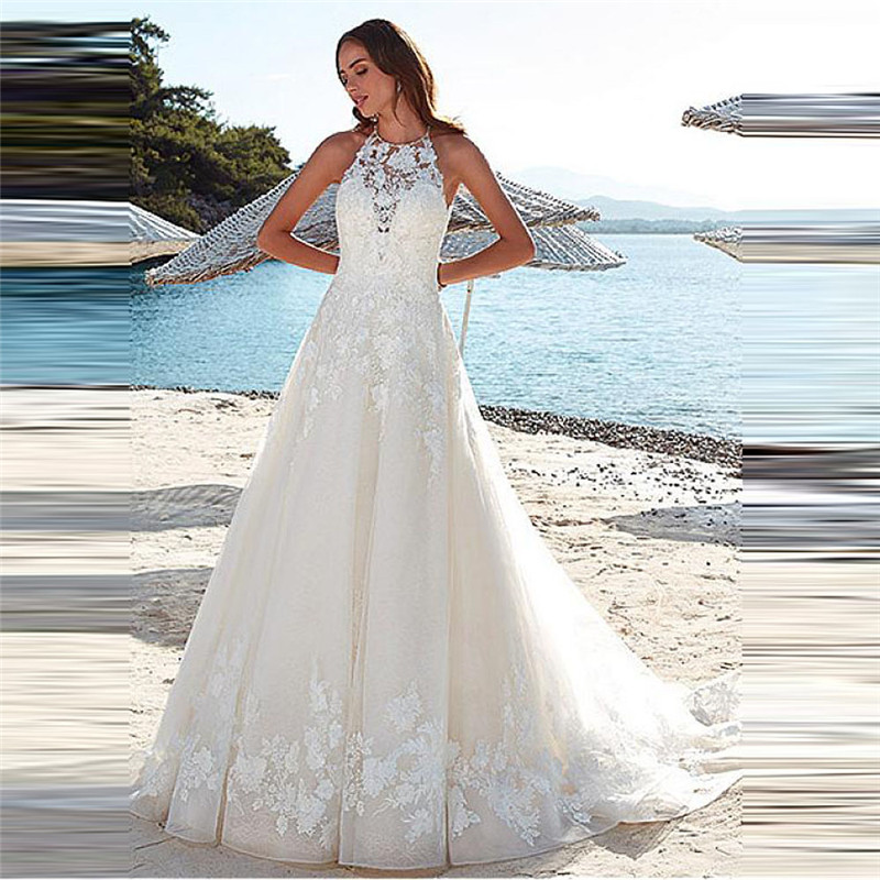 O-Neck Lace Appliques A-Line Wedding Dress Sexy Open Back 2020 Natural Waist Women Fashion Bridal Gowns Sleeveless Custom Made