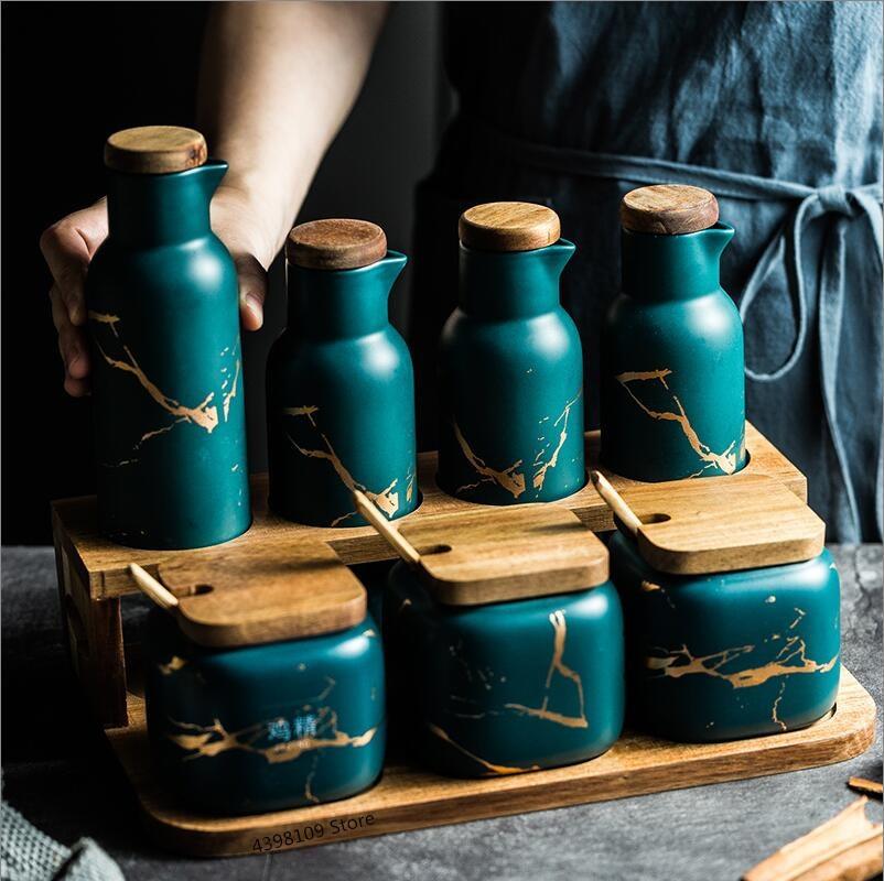Nordic Matte Marbled Ceramic Seasoning Jar Salt Can Oil Bottle Household Seasoning Box Kitchen Supplies Seasoning Bottle Set