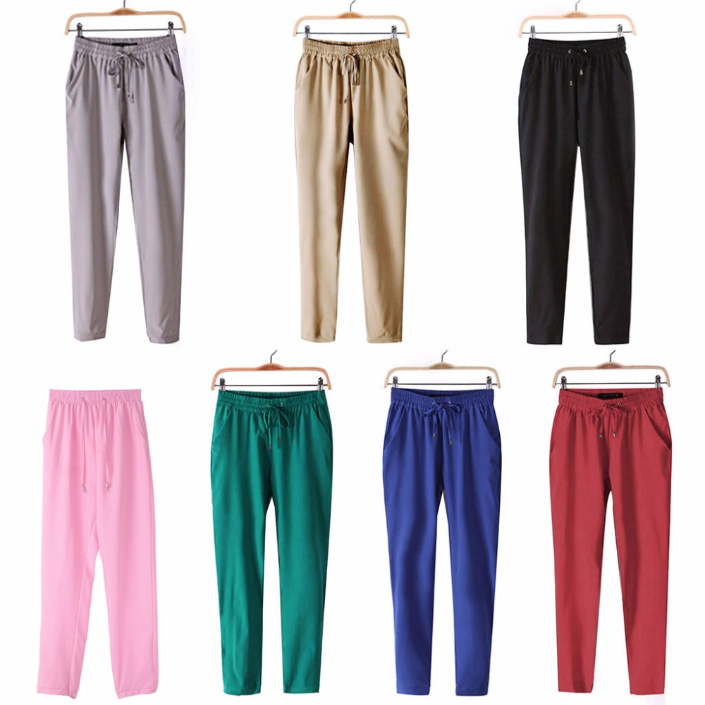 Women High Waist Tie Drawstring  Elastic Waist Pockets Casual Trousers