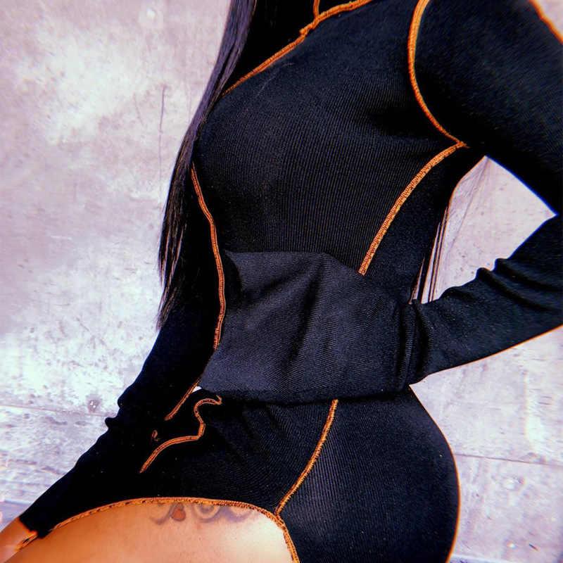 Simenual Side Slit Patchwork Women Casual Jurken Lange Mouwen Athleisure Mode 2020 Bodycon Mini Jurk Slanke Sportieve Kleding