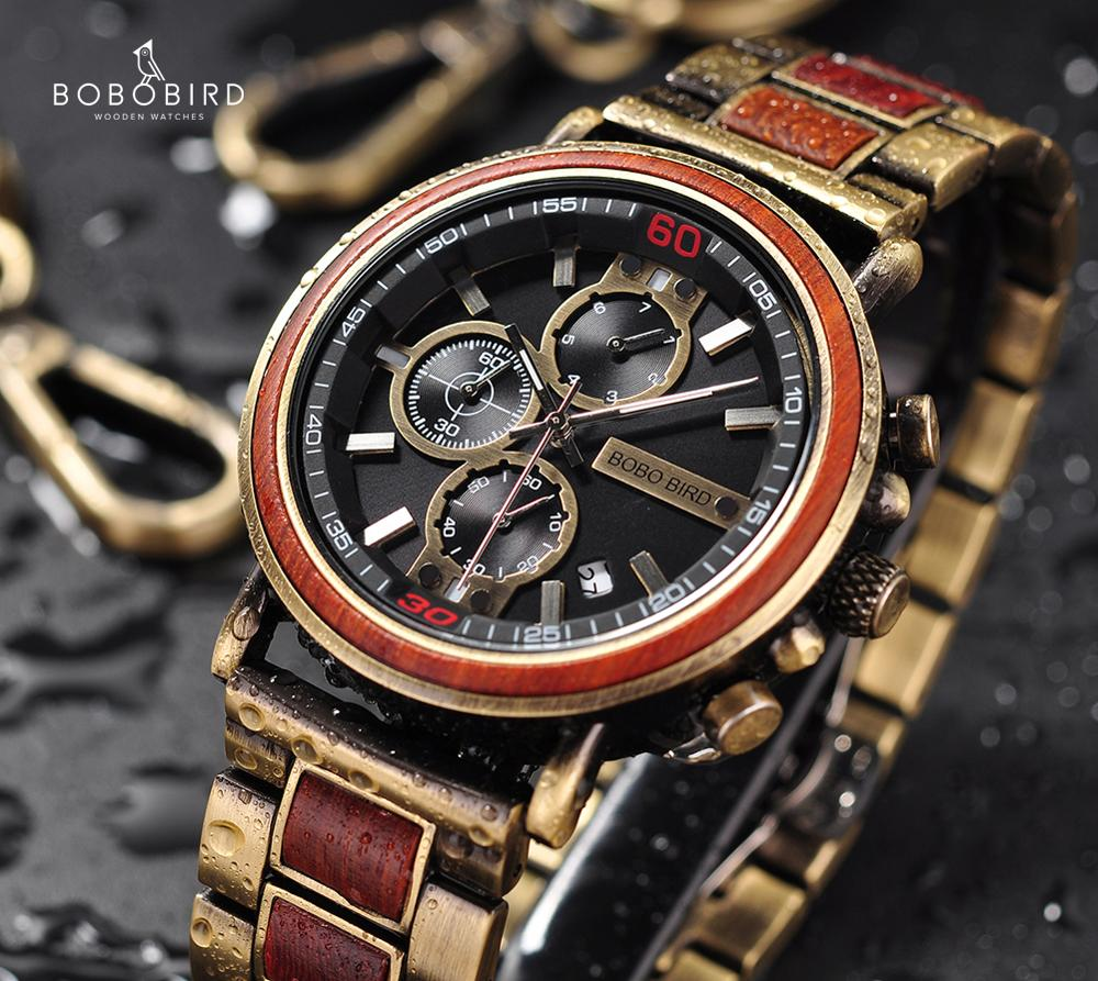 Relogio Masculino BOBO BIRD Wood Watch Top Brand Luxury Chronograph Military Men Watches In Wooden Box Reloj Hombre Dropshipping