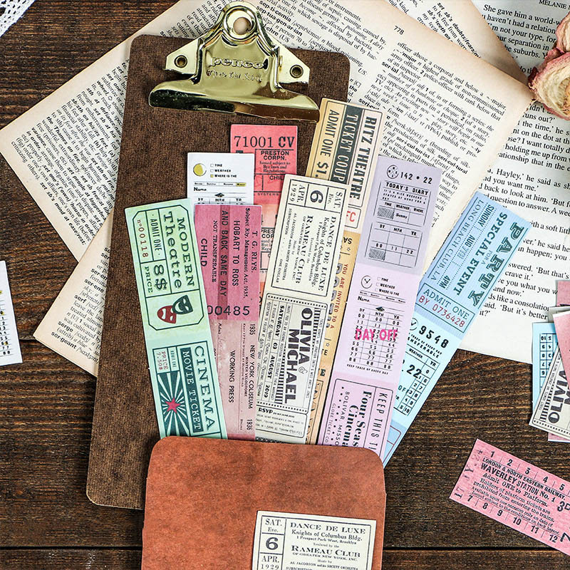 Vintage Ticket Stickers Retro Washi Tape Stickers Paper Adhesive Sticker For Kids DIY Decor Scrapbooking Diary Albums Supplies