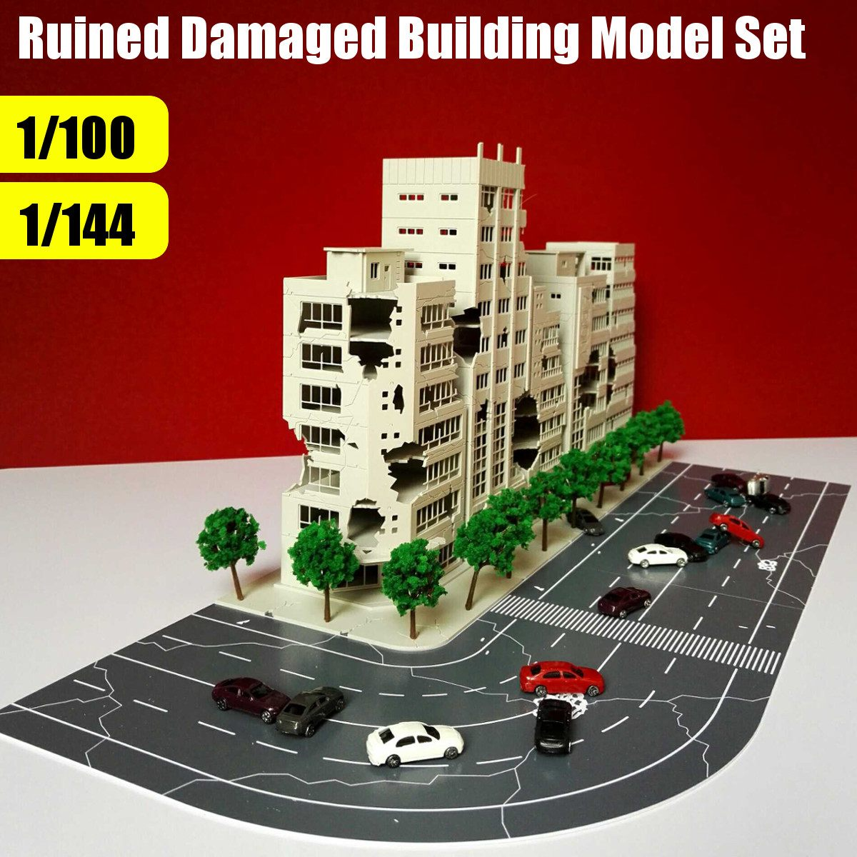1:144 3D Altman Scene Model Battle Damaged Building Outland Model Railway Office Scene Ruined Building Abandoned For Child Gift