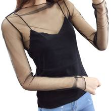Womens Solid Black Color Basic Bottoming Shirt Long Sleeve Hollow Out See Through Mesh Blouse Ruffles Mock Neck Slim Pull(China)