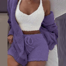 Conjunto de pijamas feminino sexy longo vestido de pelúcia robe conjunto macio quente sem manga loungewear pijamas muje