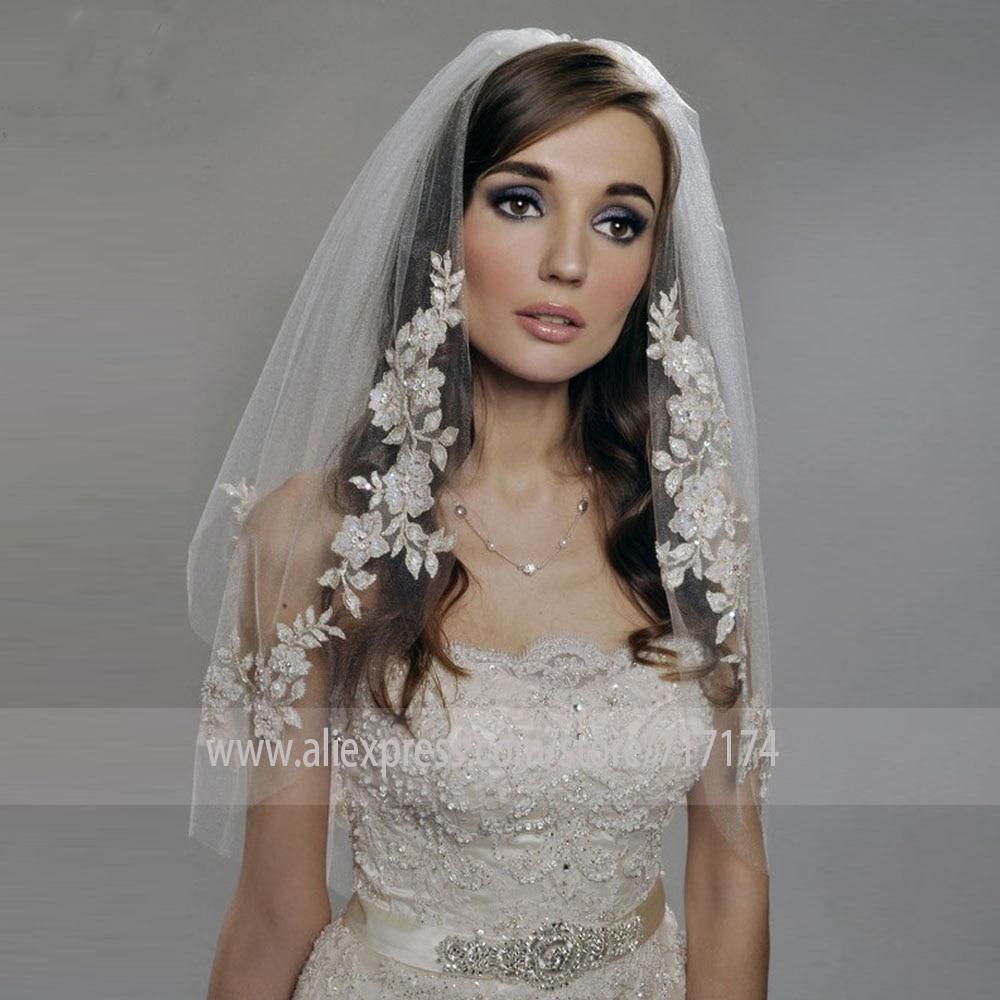 2T Womens Bridal Veil Lace Edge Long Wedding Veil Elbow Length