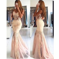 New Style 2020 Prom Dresses Sweetheart Mermaid Tulle Lace Beaded Party Long Prom Gown Evening Dresses vestidos de gala