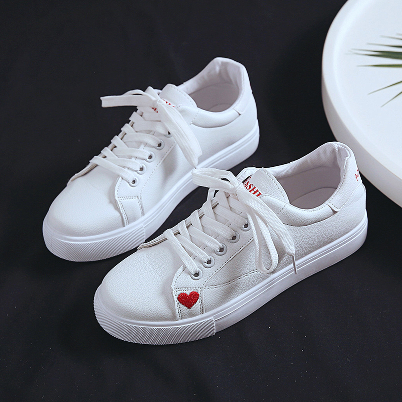 Women White Sneakers Heart  Leather Shoes Women Casual Flats -up Fashion Female Torridity  Vulcanize Shoes