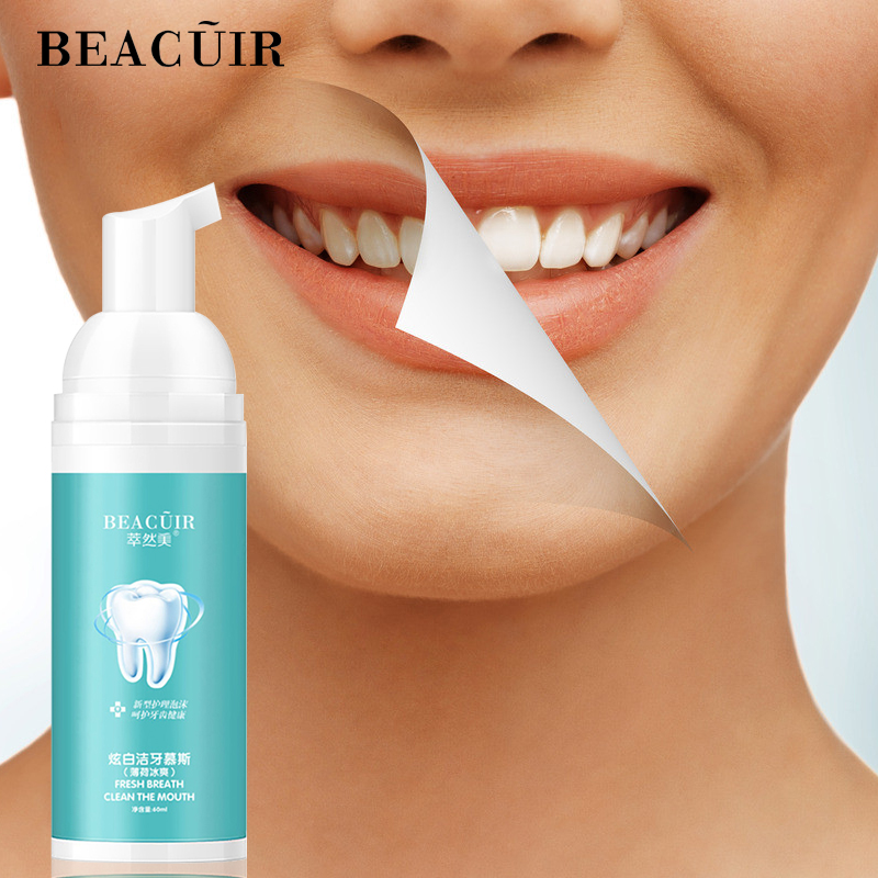 BEACUIR Tooth Whitening Cleaning Mousse Remove Plaque Stains Oral Odor Fresh Breath Bright Teeth Toothpaste Dental Care Tool 60g