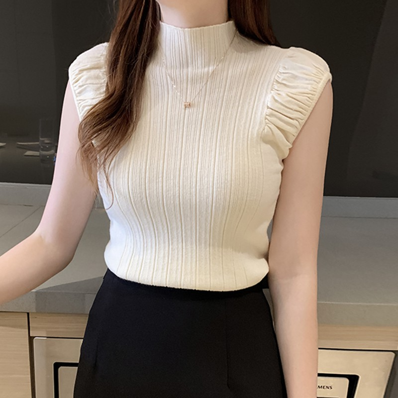 Women's T Shirt Fashion Sexy Slim Solid Bottoming Tops Casual Half Turtleneck Knitted Sleeveless T-Shirt 3