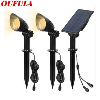 OUFULA солнечный светильник лужайки Точечный светильник один для двух двор дома светодиодный уличный светильник Открытый водонепроницаемый ...