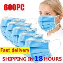 10-600 máscaras descartáveis dos pces nonwove máscara de filtro de 3 camadas anti poeira máscara protetora respirável máscaras faciais adultas azuis mascarilla