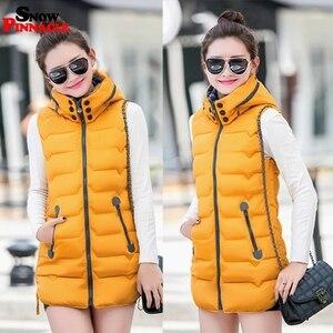 Image 2 - Winter Long vest women Casual Slim thick warm Autumn hooded sleeveless waistcoat long zipper female cotton padded jacket