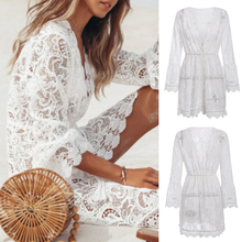 2019 Summer Lace Dress Sexy Party Women Deep V Neck Backless Dresses Fashion Halter Bandage Mini