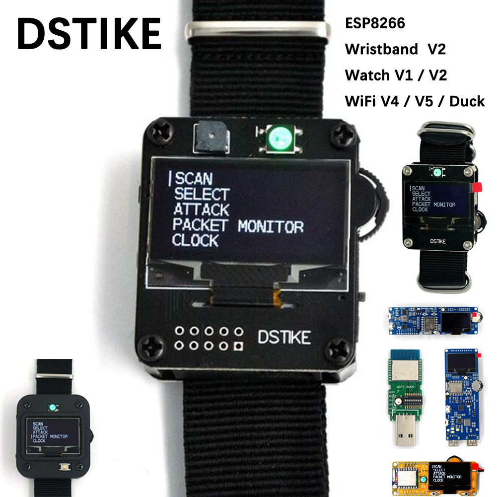 Original DSTIKE Deauther Program Smart Watch V1 Wristband V2 WiFi Monster V4 OLED V5 Display Test Duck ESP8266 Development Board
